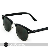 Half Frame Vintage Clubmaster Style Classic Sunglasses Shades Free Case RX S063