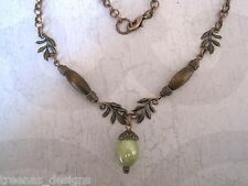 *ACORN WITH OAK LEAVES* Copper Tone Wood Bead Necklace 17 inch chain GIFT POUCH