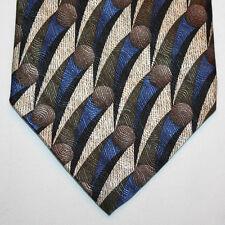 "NEW 60"" Joseph & Feiss Silk Neck Tie Beige Black Blue Green & Gray Pattern 1105"