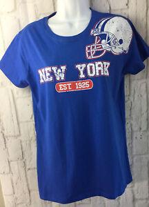 Gildan Womens New York Giants Football Short Sleeve Retro T-Shirt Size Medium