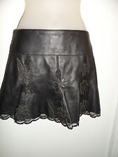 bebe 2 Black Mini Skirt 100% Genuine Leather Floral Lace Pleated Biker Spring