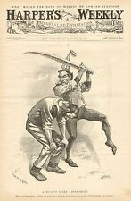 Political Cartoon, A Mighty Risky Experiment, by W.A. Rogers, Vintage 1896 Print