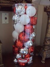 Lot Of 50 Silver/Red/White Christmas Tree Ornaments Ball Shatterproof Glitter