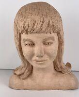 Vintage MCM clay pottery bust head handmade studio pottery