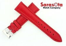 deBeer Genuine Lizard 19mm Short Red Color Stitched 16 Buckle Leather Watch Band
