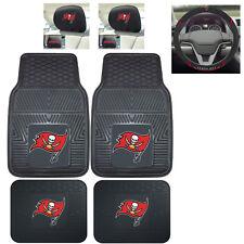 7pc NFL Tampa Bay Buccaneers Heavy Duty Rubber Floor Mats Steering Wheel Cover