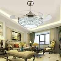 42'' Crystal Invisible Fan Ceiling Light with LED Light Kit and Remote Control