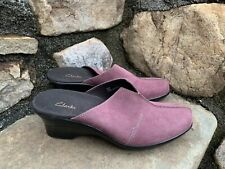 Clarks Mules Shoes Clogs Slip On Size 7M Leather Ecu Boho Retro Classic