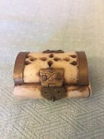 Vintage Camel Bone & Brass Hinged Trinket Jewelry Box Velvet Lined Made in India