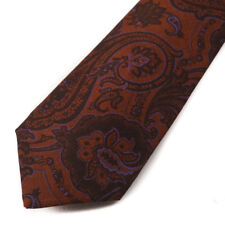 New $295 KITON NAPOLI Rust Brown and Lavender Paisley Wool Tie Handmade