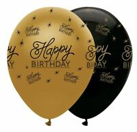 6 x Black & Gold Latex Balloons Happy Birthday Adults Party Helium Decoration