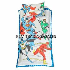 SINGLE BED JUSTICE LEAGUE HERO LICENSED QUILT DOONA COVER SET + PILLOWCASE