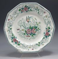 "LIVESLEY AND POWELL HENLEY PARADISE POLYCHROME 9"" OCTAGON PLATE c.1860 GREEN RED"