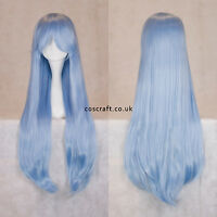 80cm long straight cosplay wig with fringe in baby blue, UK SELLER, Alex style