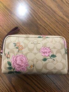 Coach Signature Boxy Cosmetic Case Signature Prarie Rose New