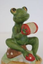 """Vintage Lefton China Hand Painted Green Frog Playing a Concertina #02266 3"""" Tall"""