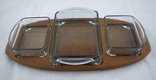 Mid Century Modern DENMARK Teak Glass Serving TRAY Dresser 3 glass compartments
