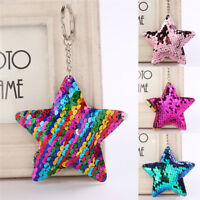 Star Shaped Mermaid Sequins Key Chain Handbag Pendant Keyring Jewelry Gifts Jc