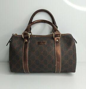 Gucci Boston Bag Mini Monogram Brown Canvas Logo Bronze Handles Authentic Gucci