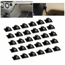 30pcs Self-adhesive Car Wire Tie Clip Rectangle Cord Cable Holder Mount Clamp AU