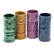 Set of 4 Ceramic  Tiki Mug Hawaiian Party Pack Cocktail  Bar Drink Glasses Gift