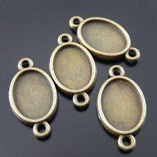 Antiguo Bronce Vintage De Aleación Oval Conector Cameo ajuste:14 * 10mm 59pcs