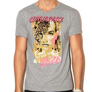 Amnesia Ibiza Mens V-Neck T-shirt Wildlife Face GREY Heather RRP £40 OFFICIAL