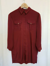 Topshop Oversized Burgundy Red Button-Up Front Pocket Shirt Midi Dress Size 8