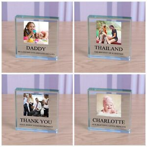 Your Own Any Message - Personalised Photo Picture Glass Block Ornament Gift 8cm