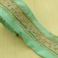 Vintage saree Border Indian Hand Beaded Green Sari Ribbon Sewing 1YD Trim