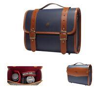 For DSLR Leather Camera Shoulder Bag Insert Case + Travel Belt /Preppie(Big)Navy