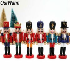 6pcs Wooden Nutcracker Puppet Zakka Ornaments Xmas Gift Christmas tree Decor