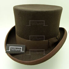 VINTAGE Wool Felt Top Hat Men Topper Gentlemen Tuxedo Victorian | 57cm | Brown