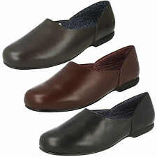 MENS CLARKS SLIP ON LEATHER WARM HARD SOLE INDOOR SLIPPERS SHOES HARSTON LOUNGE