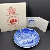 "B&G BING & GRONDAHL 1970 Christmas Plate ""Pheasants in the Snow at Christmas"""