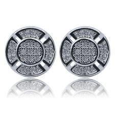 Hip Hop Punk Men's Geometric Round Stud Earrings 18K Plated Full White Zircon