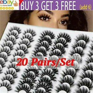 20 Pair 3D False Eyelashes Wispy Cross Long Thick Mink Soft Fake Eye Lashes sr