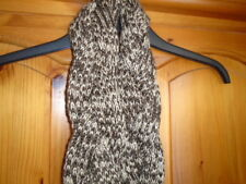 Cosy brown and beige plaited effect scarf with tassels, PER UNA