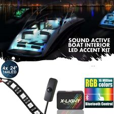 Blutetooth Control Boat Interior Glow LED Lighting Strip Kit w/Switch Sound beat