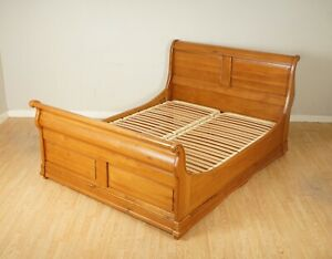 VINTAGE WARING & GILLOW OAK DOUBLE SLEIGH BED FRAME