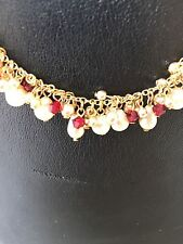 LEE ANGEL Freshwater White Pearl + Red Garnet 14K Gold 15.25 Necklace Choker NEW