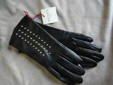 BNWT DENTS ladies black leather gloves with stud embellishment medium