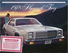 Plymouth Fury 1978 Original USA Sales Brochure Sport Salon Suburban 81-005-8005