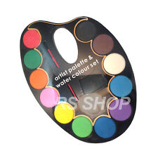 Artist Palette Water Colour Paint Set 12 Assorted Water Colour's + Paint Brush