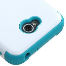 For LG Optimus Exceed 2 VS450PP PHONE WHITE BLUE TUFF RUBBERIZED SKIN COVER CASE