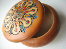 German Wood Jewelry Trinket Box Round Stained Embossed Hand Painted Colors