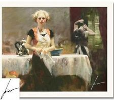 """Pino Hand Signed # """"In The Late Evening"""" Giclee on Paper Elegant Pcoa 20x16 1/2"""