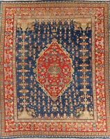 Pre-1900 Antique Vegetable Dye Geometric Blue/Red Sultanabad Oriental Rug 13x16