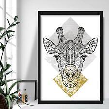 Impresión de arte geométrico de cabeza de jirafa Gris Amarillo Decoración De Pared Poster Azteca de la Galería