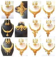 Indian 22K Gold Plated Wedding Necklace Earrings Party Set Variation 8''  ..
